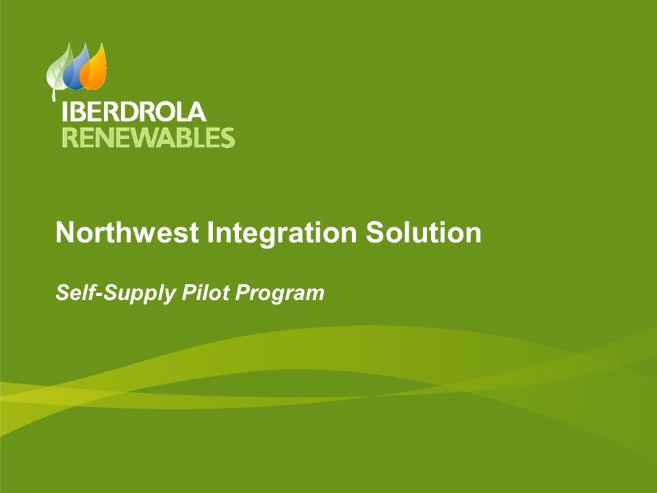 Northwest Integration Solution Self-Supply Pilot Program