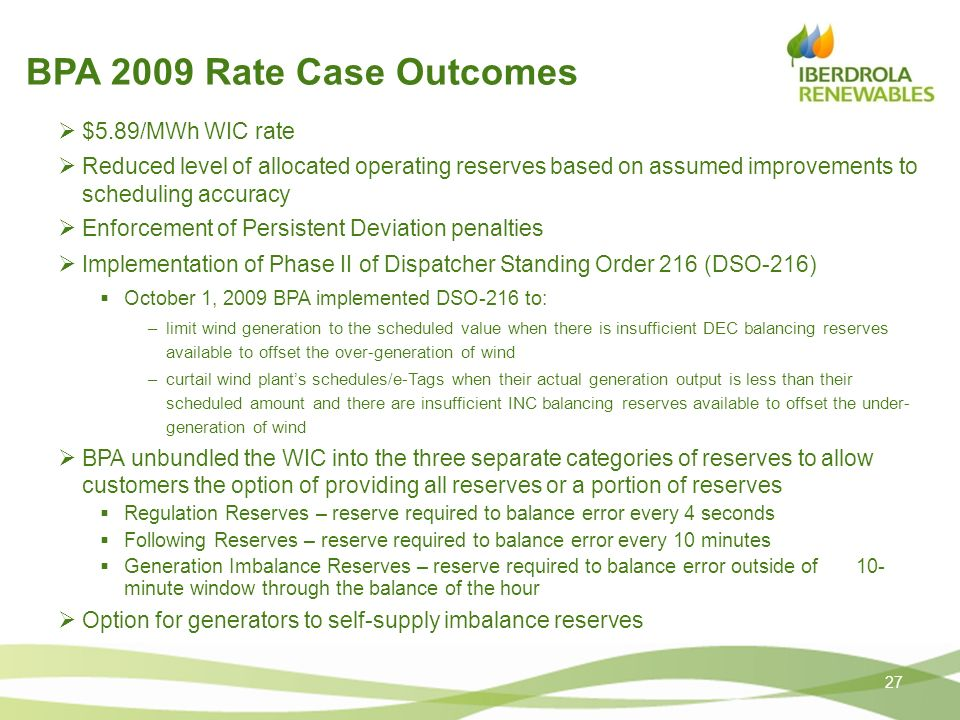 BPA 2009 Rate Case Outcomes $5.89/MWh WIC rate