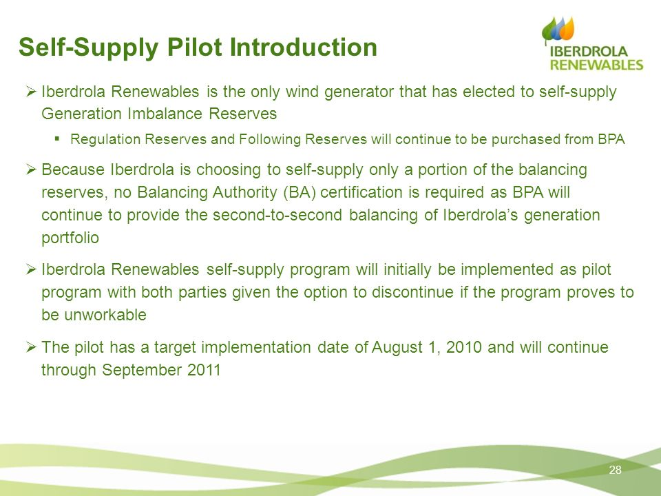 Self-Supply Pilot Introduction