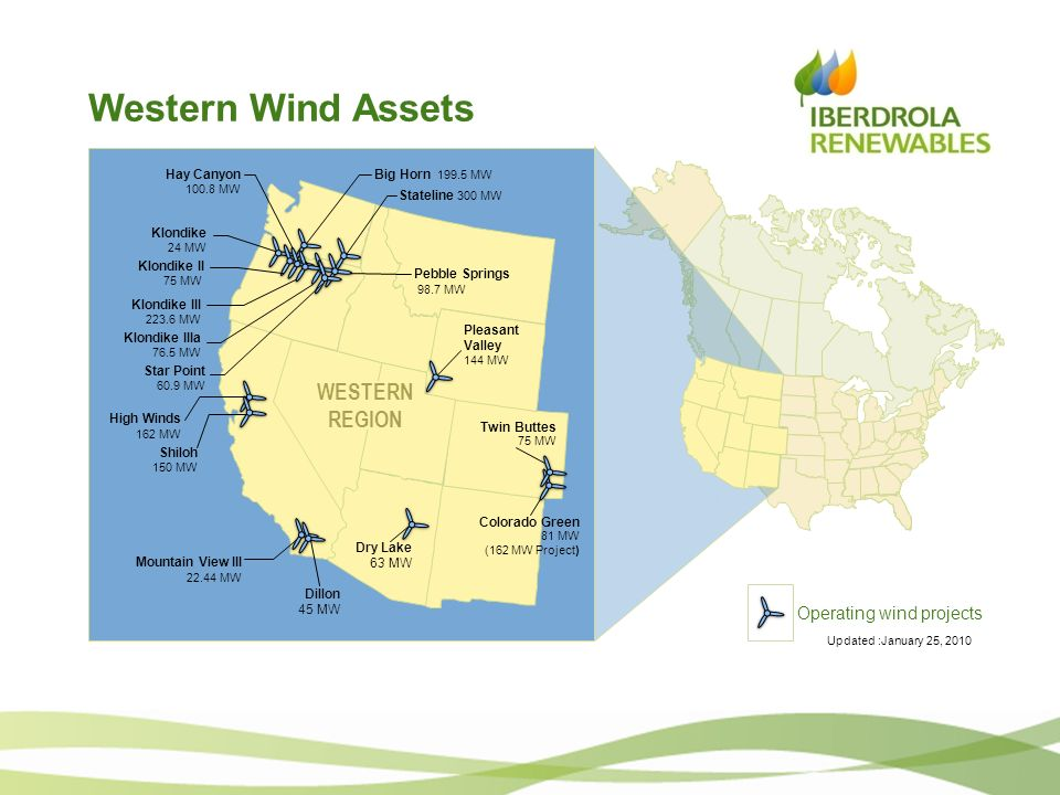 Western Wind Assets WESTERN REGION 162 MW Operating wind projects