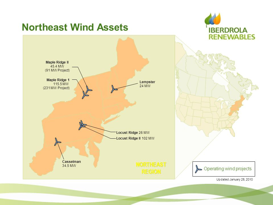 Northeast Wind Assets NORTHEAST REGION Operating wind projects