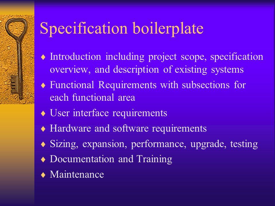 Specification boilerplate