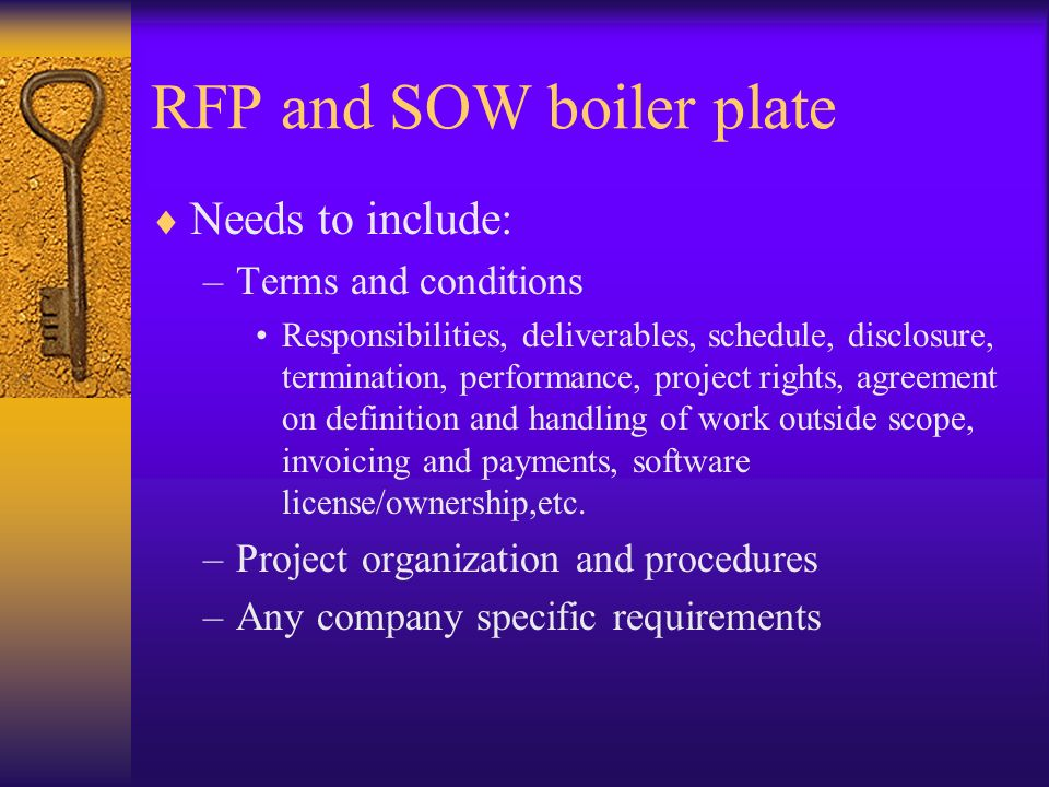RFP and SOW boiler plate