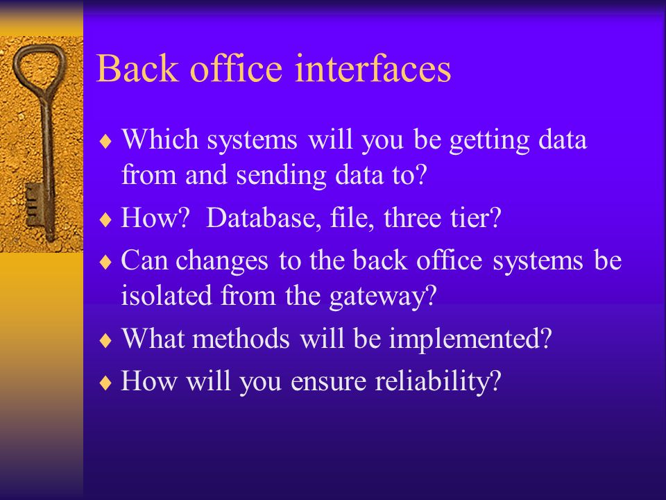 Back office interfaces