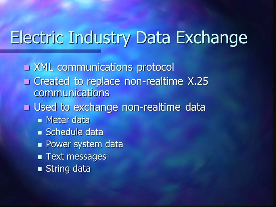 Electric Industry Data Exchange