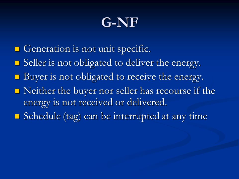 G-NF Generation is not unit specific.