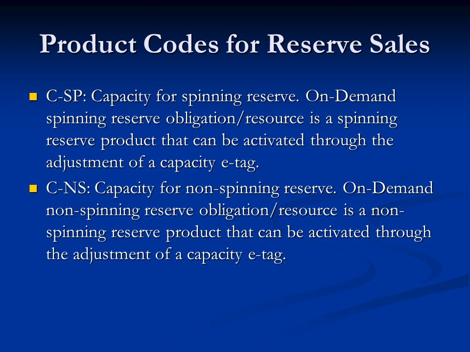 Product Codes for Reserve Sales