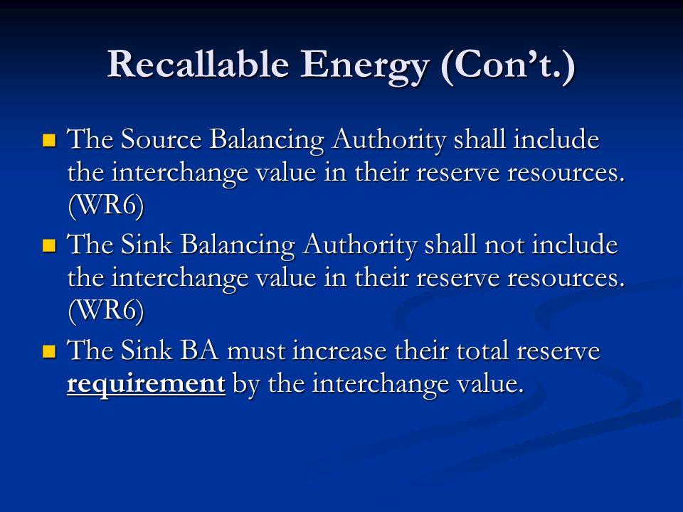 Recallable Energy (Con't.)