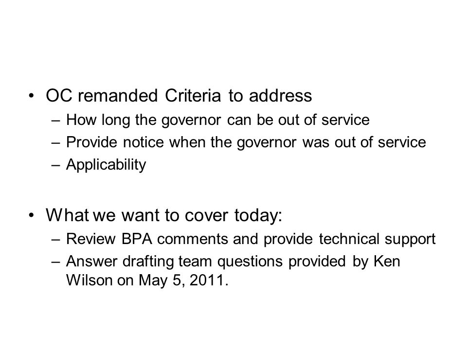 OC remanded Criteria to address
