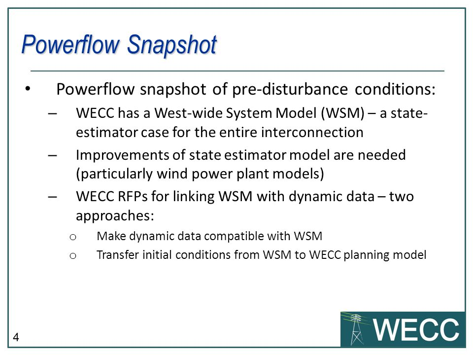 Powerflow Snapshot Powerflow snapshot of pre-disturbance conditions: