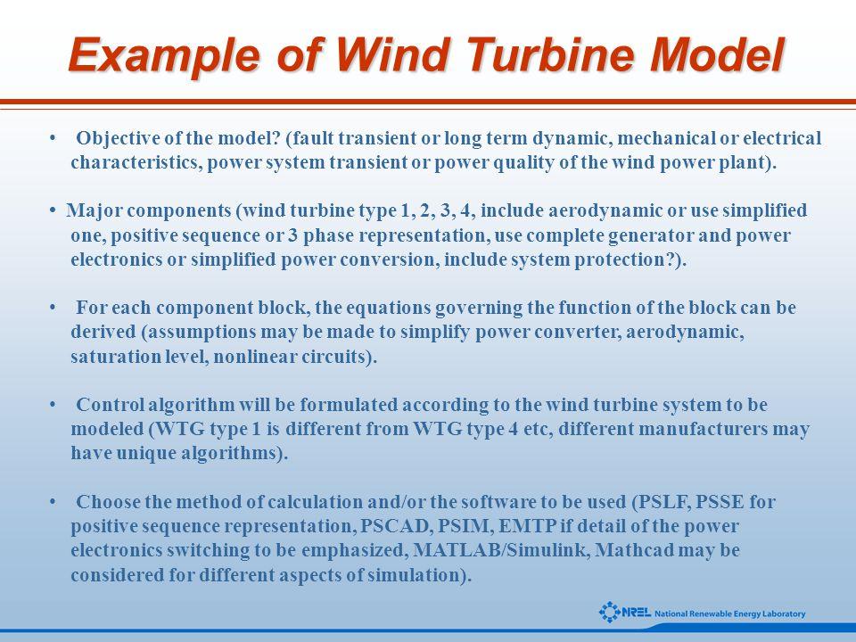 Example of Wind Turbine Model