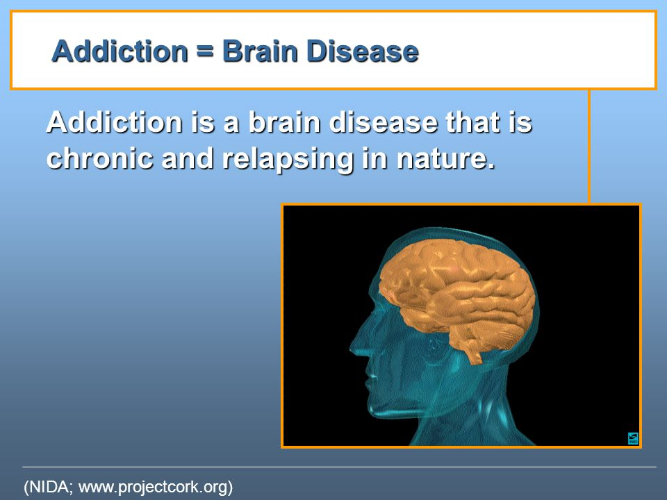 addiction the disease Addiction as a 'brain disease' - the brain disease model of addiction shows that changes take place in the brain when someone becomes hooked learn about the brain disease model of addiction.