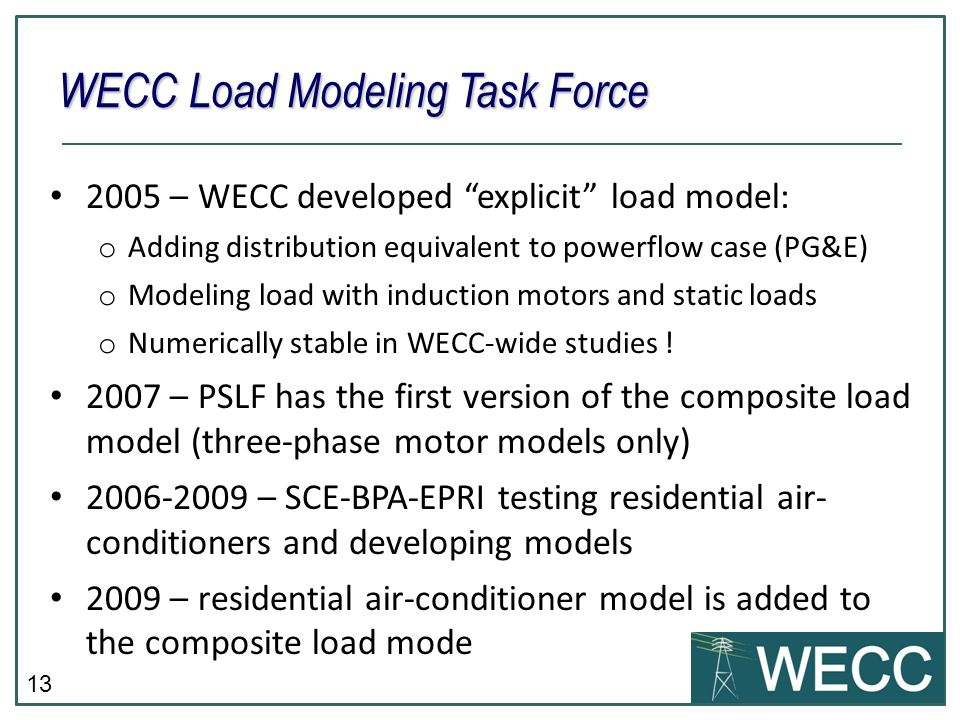 WECC Load Modeling Task Force