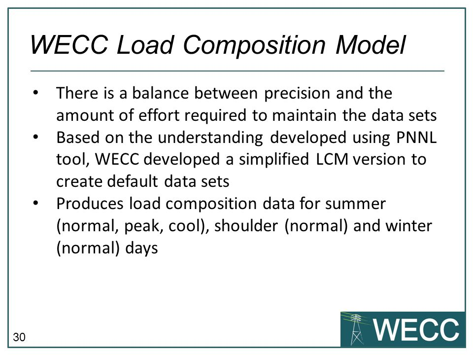 WECC Load Composition Model