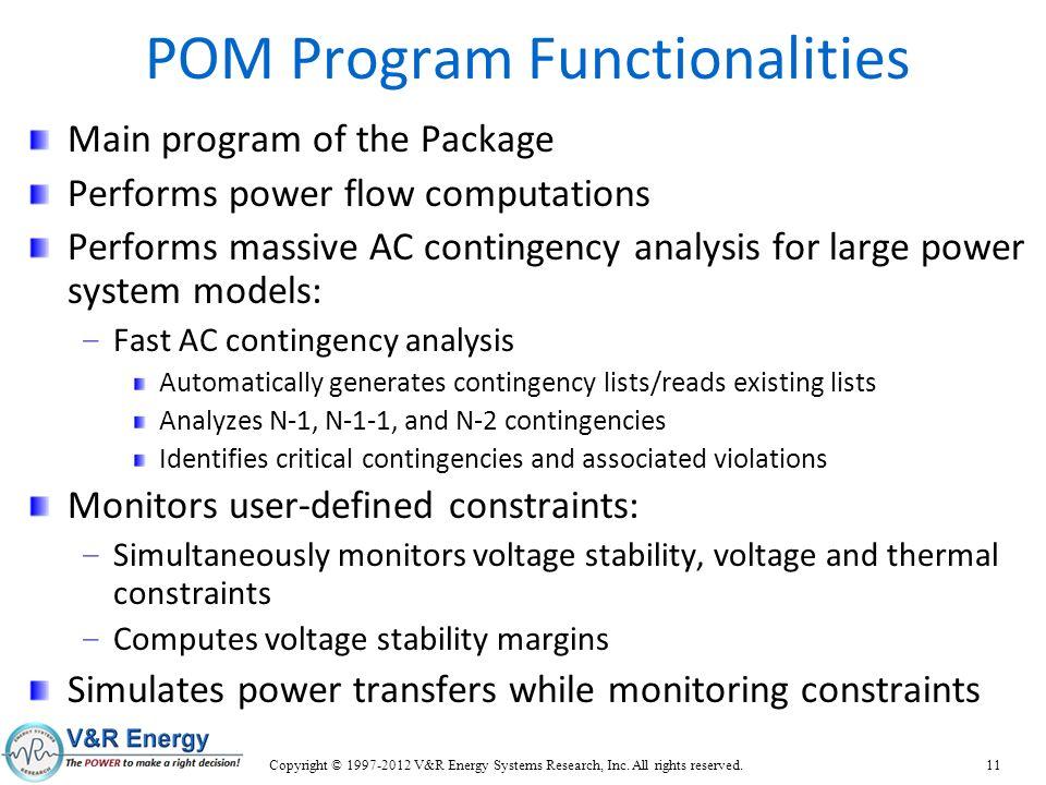 POM Program Functionalities