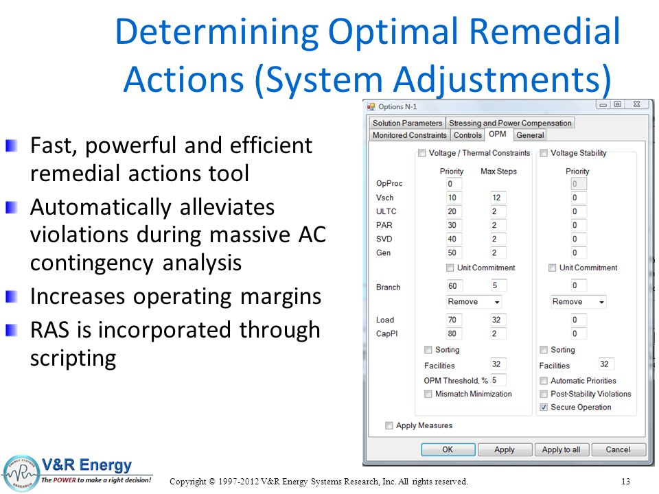 Determining Optimal Remedial Actions (System Adjustments)