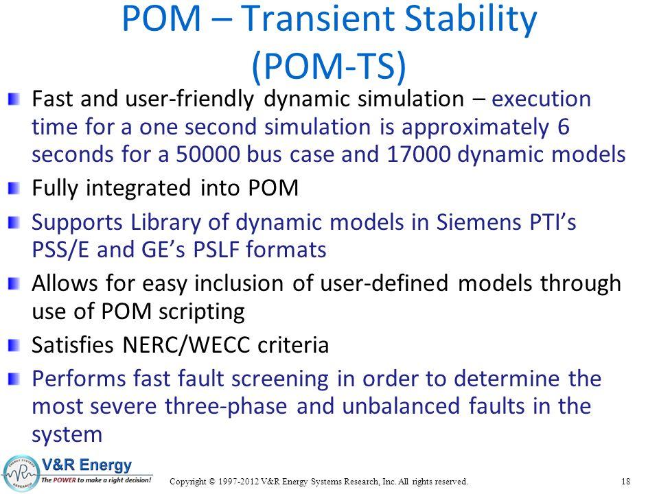 POM – Transient Stability (POM-TS)