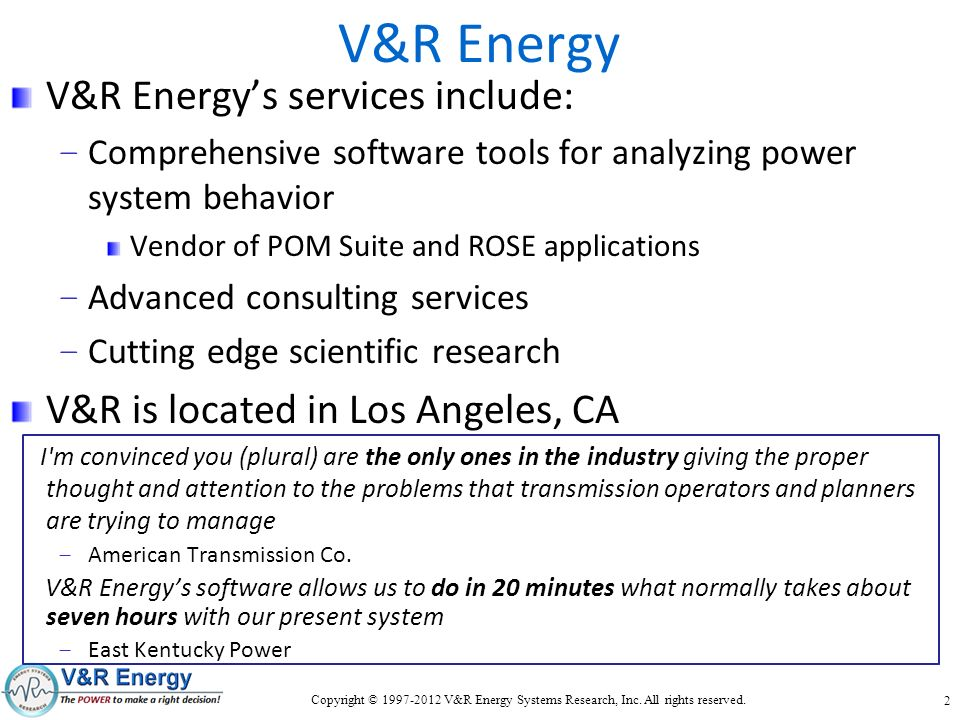 V&R Energy V&R Energy's services include:
