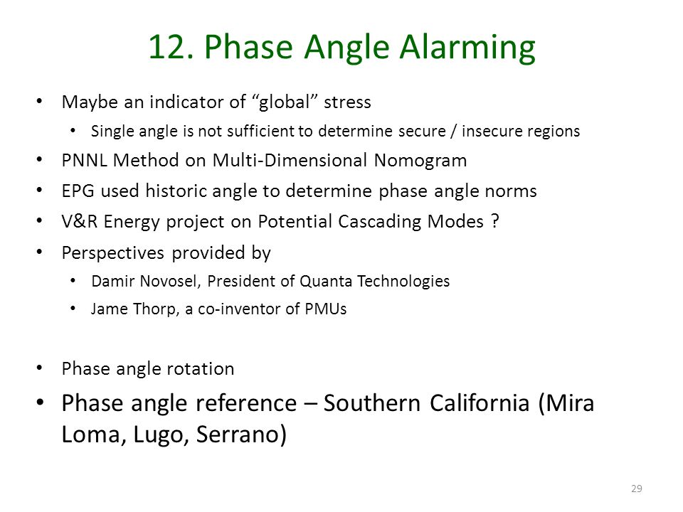 12. Phase Angle Alarming Maybe an indicator of global stress. Single angle is not sufficient to determine secure / insecure regions.