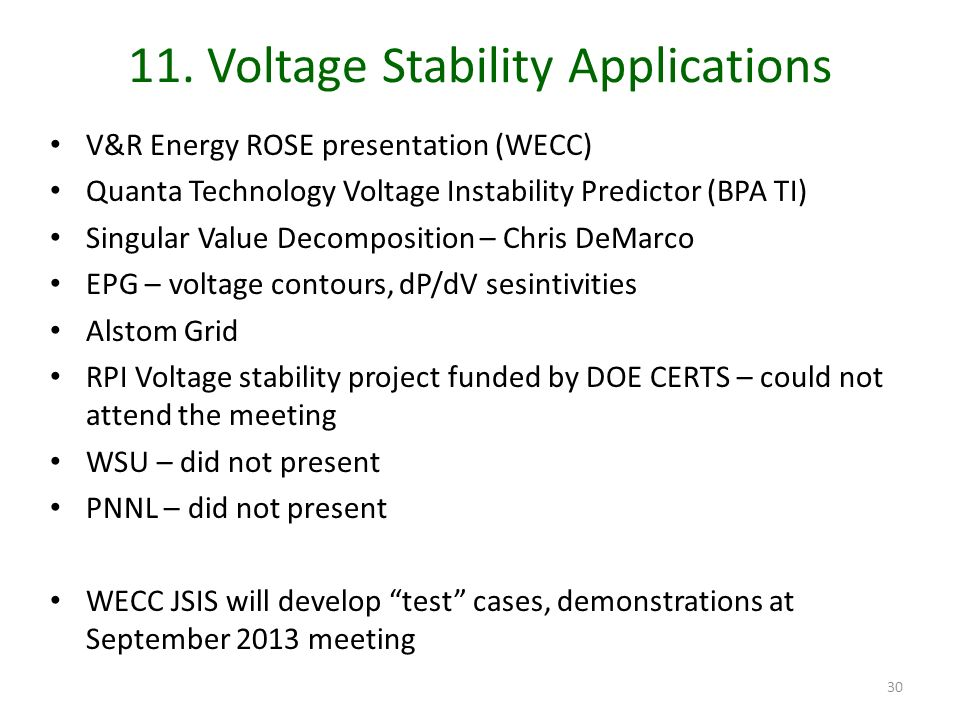 11. Voltage Stability Applications