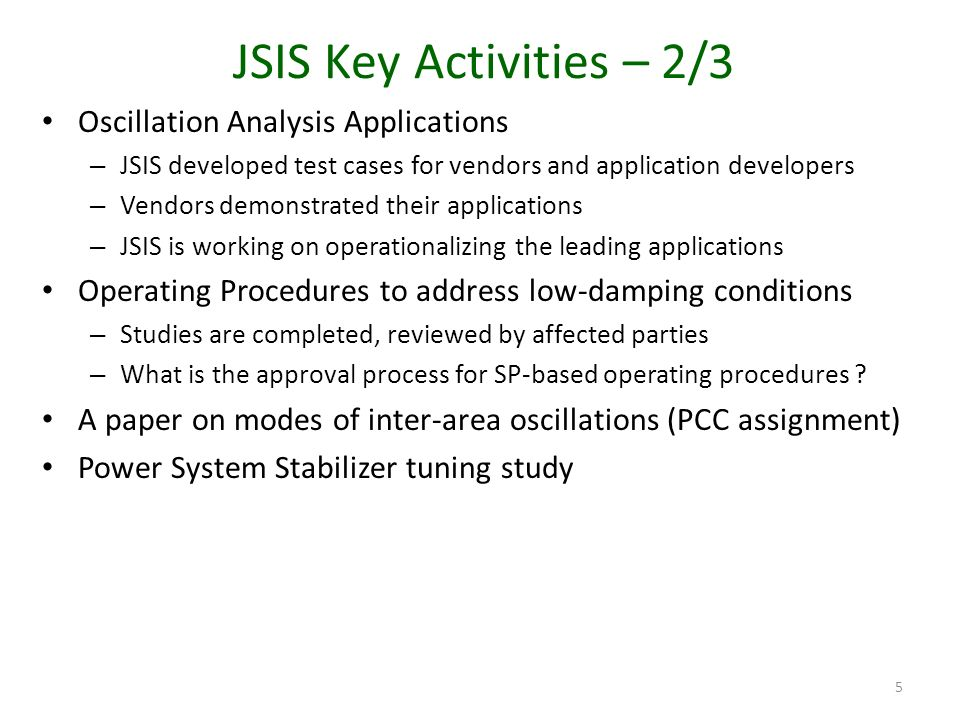 JSIS Key Activities – 2/3 Oscillation Analysis Applications