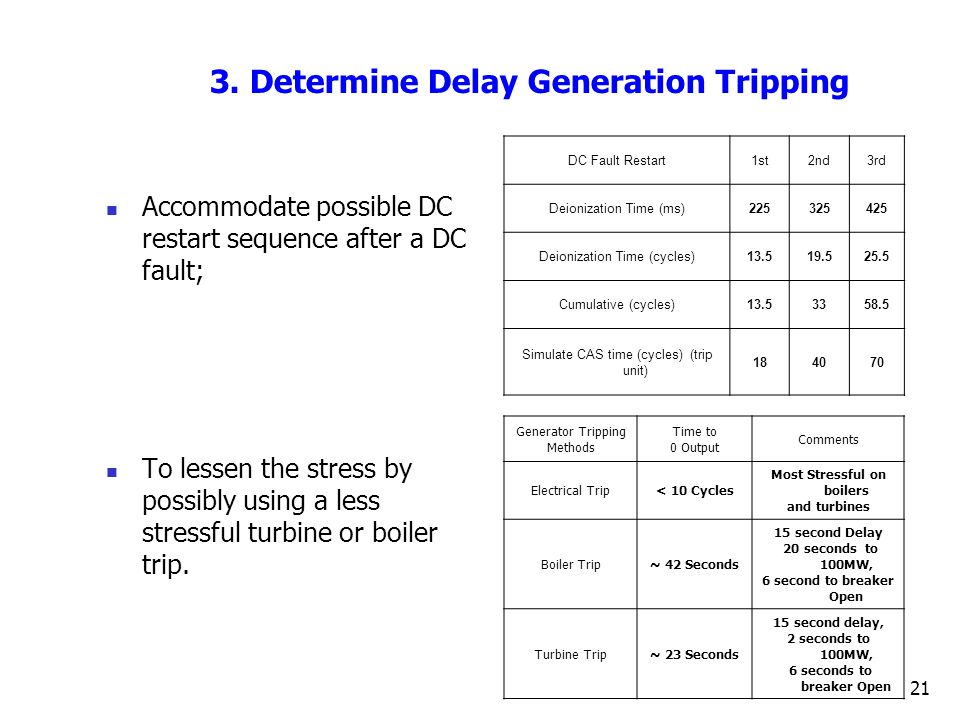 3. Determine Delay Generation Tripping