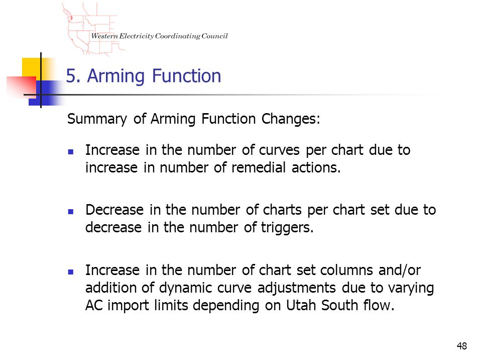 5. Arming Function Summary of Arming Function Changes: