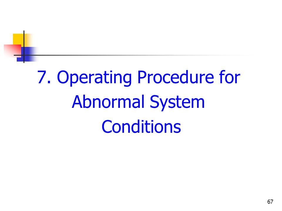 7. Operating Procedure for
