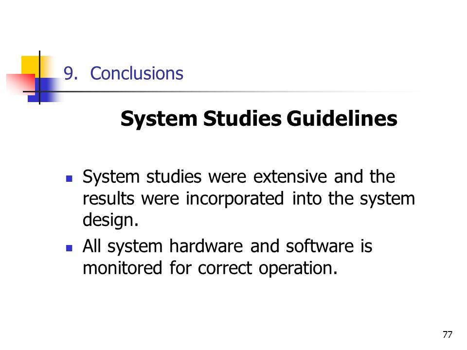 System Studies Guidelines
