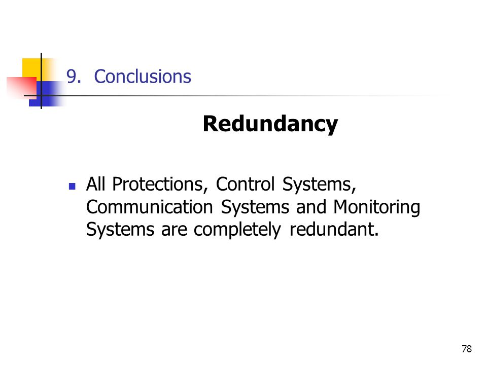 Redundancy 9. Conclusions