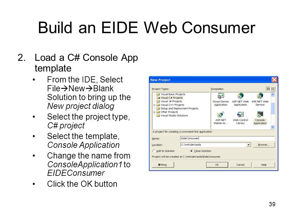 Build an EIDE Web Consumer