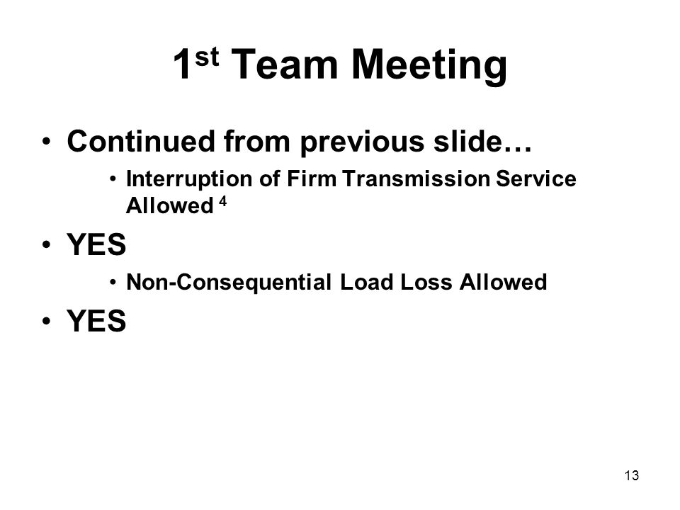 1st Team Meeting Continued from previous slide… YES