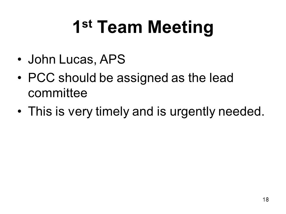 1st Team Meeting John Lucas, APS