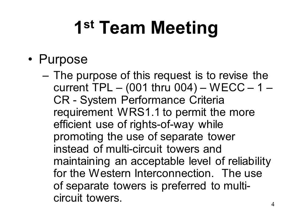 1st Team Meeting Purpose