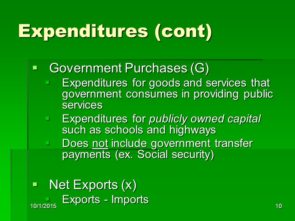 Expenditures (cont) Government Purchases (G) Net Exports (x)