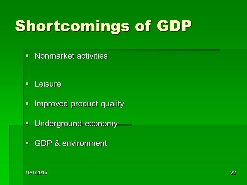 Shortcomings of GDP Nonmarket activities Leisure