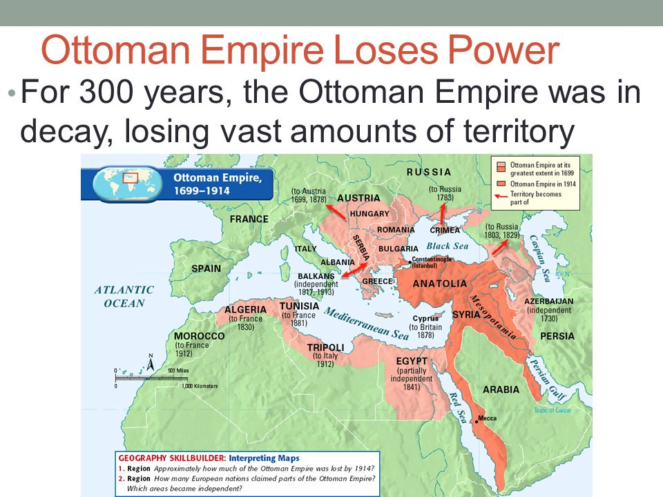 decay of the ottoman empire The ottoman empire started in what is now turkey and reached out to parts of europe, africa, and asia its primary purpose was to gain land and to spread the islamic teachings of its rulers.