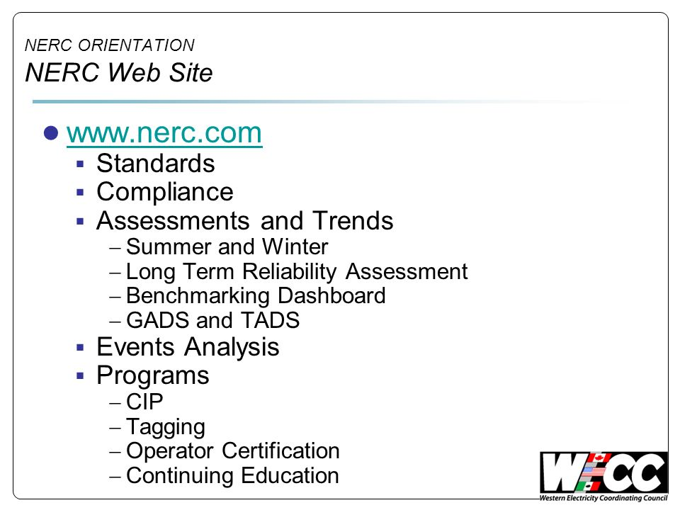 NERC ORIENTATION NERC Web Site