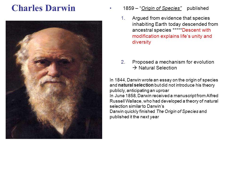 essay on charles darwin theory of evolution