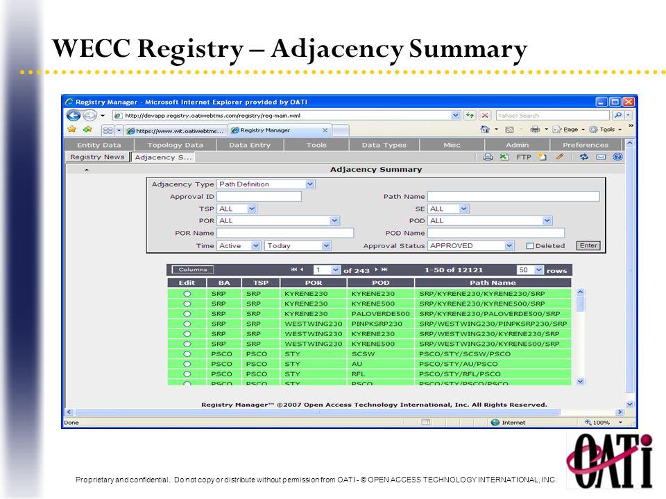 WECC Registry – Adjacency Summary