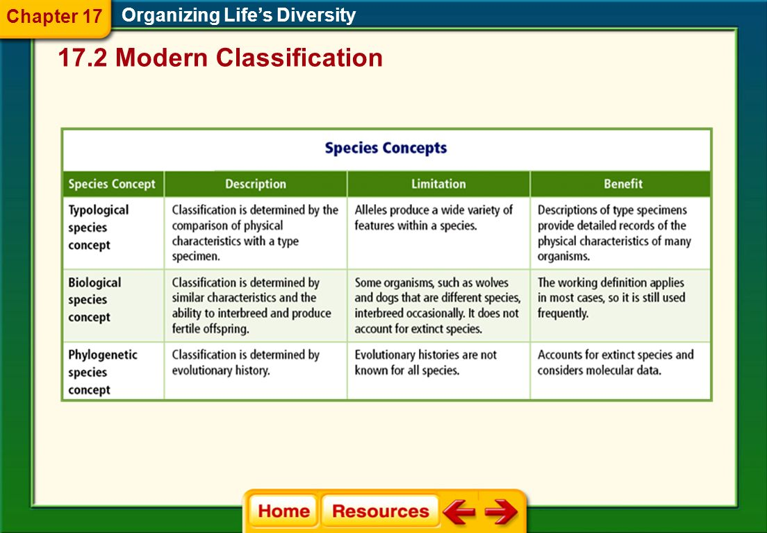 17.2 Modern Classification