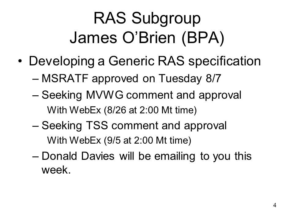 RAS Subgroup James O'Brien (BPA)