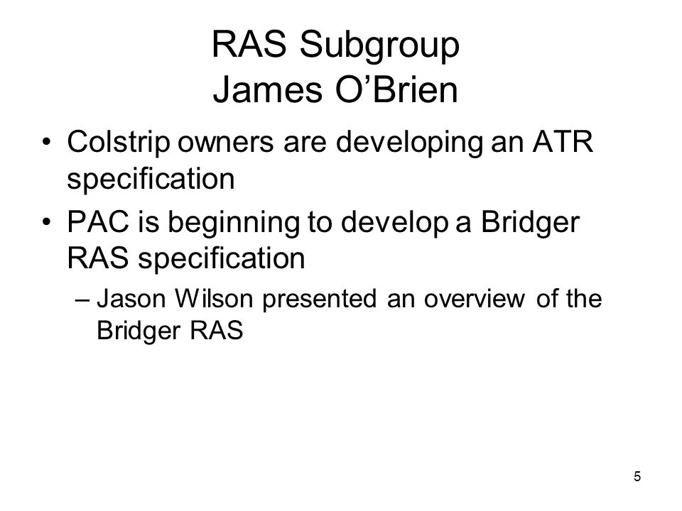 RAS Subgroup James O'Brien