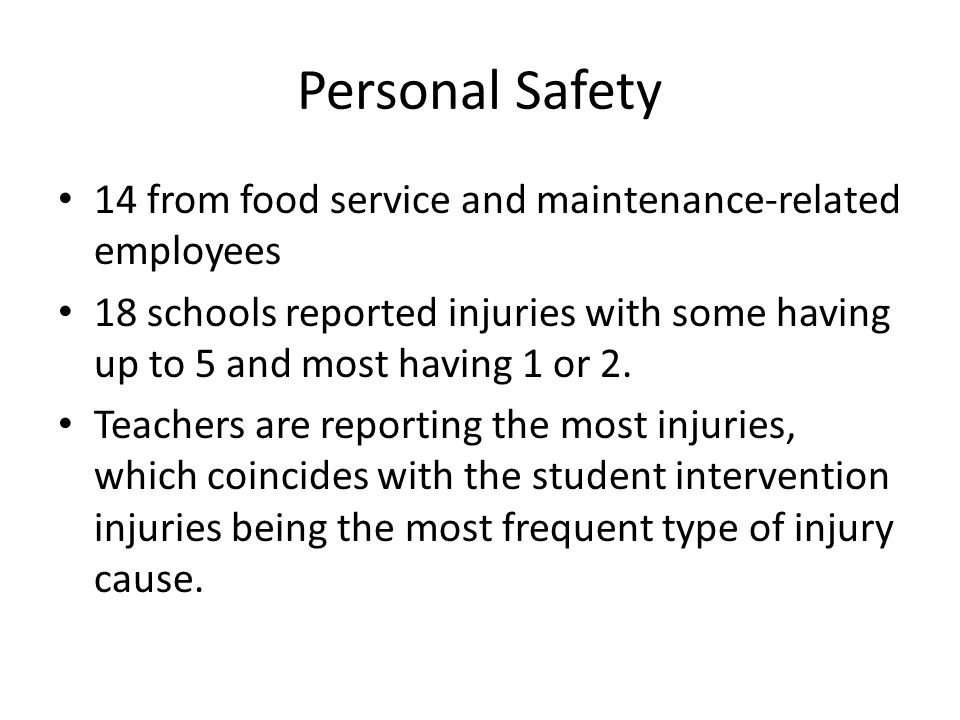 Food service injuries and illnesses