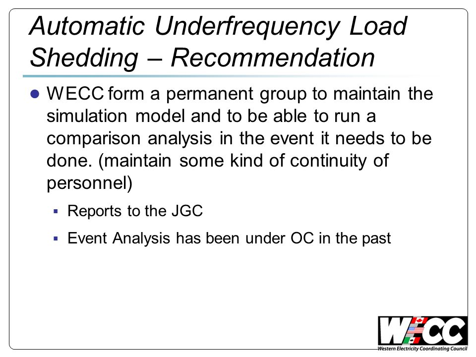 Automatic Underfrequency Load Shedding – Recommendation