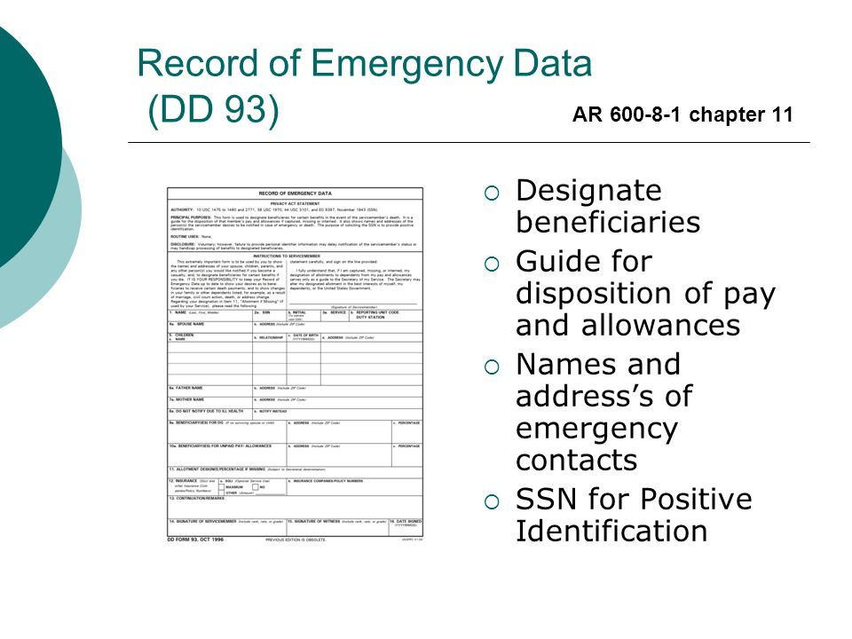Record of Emergency Data (DD 93) AR chapter ppt video online download