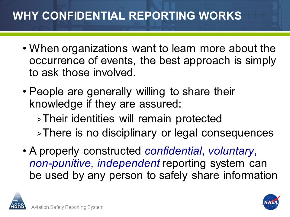 WHY CONFIDENTIAL REPORTING WORKS