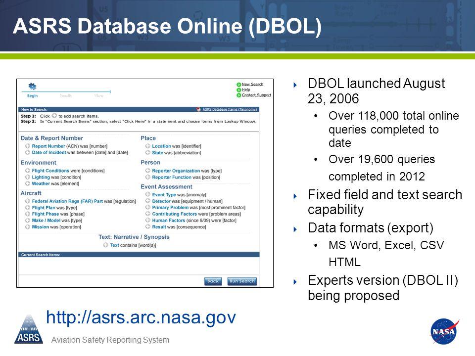 ASRS Database Online (DBOL)