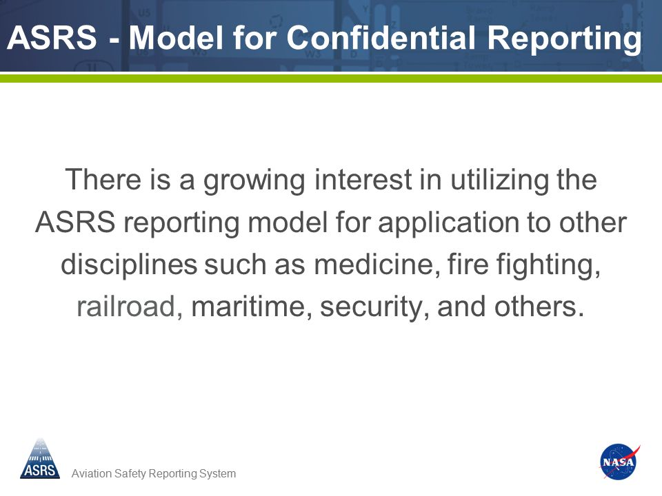 ASRS - Model for Confidential Reporting