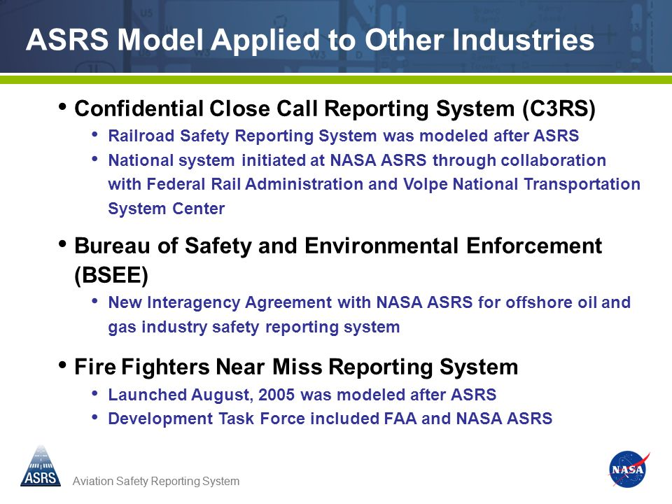 ASRS Model Applied to Other Industries
